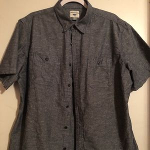 Blue short sleeve button down shirt